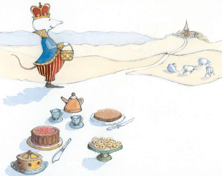 Kan du förstå, vi är redan hos K! Och kung Konrad den snälle blir så glad. Han bjuder på kaffe och kakor av choklad. Landets mäktigaste mus är han, med ett hjärta av guld minsann! Från Linas ABC-bok illustratör och författare Margareta Fridén
