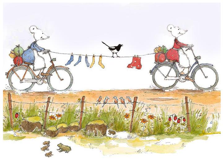 """""""Idag fick vi regn på dag nummer fem. Jag börjar faktiskt längta hem! Men så kom solen och regnet bara försvann. Vi cyklar vidare på vägen som nu mest liknar en damm! Kläderna torkar medan vi fortsätter trampa och tralla. Glada Henrik Skata sjunger högst av oss alla!""""  Från Linas Sifferbok; """"Siffran;5. Margareta Fridén B.Wahlström"""