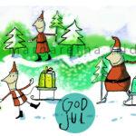 Julkort 3. Tre-tomtar-i-skogen-margaretafriden.se
