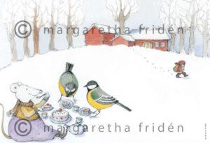 Julkort 5. Musen Lina, Nissen och Talgoxarna-margaretafriden.se