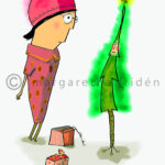 Julkort-2-Tanten-och-julgranen-margaretafriden.se